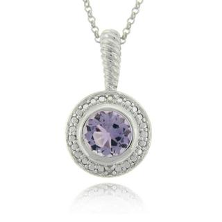 Dolce Giavonna Sterling Silver Amethyst and Diamond Accent Necklace