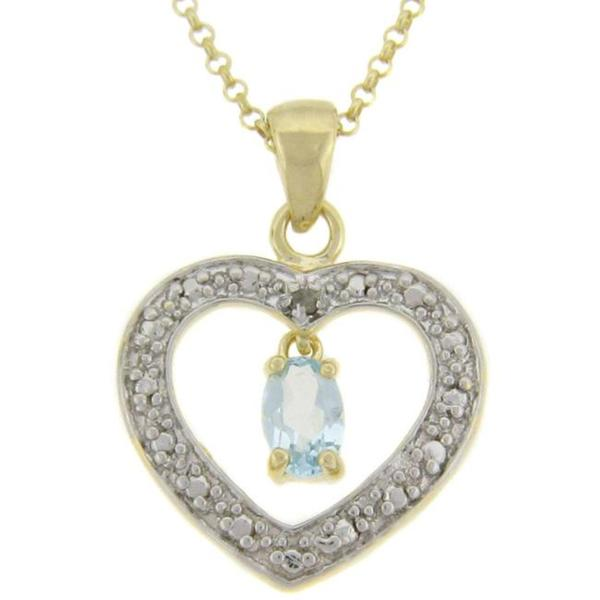 Dolce Giavonna 18k Gold over Silver Blue Topaz and Diamond Accent Heart Necklace