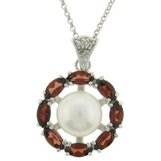 Dolce Giavonna Silver Freshwater Pearl, Garnet and Diamond Accent Necklace (9 mm)