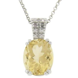 Dolce Giavonna Sterling Silver Citrine and Diamond Accent Oval Necklace