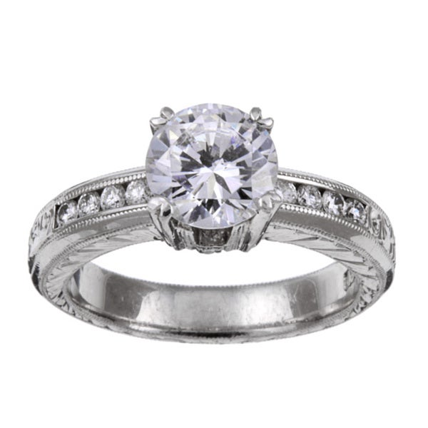 Tacori Platinum CZ and 1/4ct TDW Diamond Engraved Engagement Ring (G, VS)