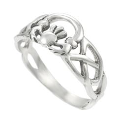 Journee Collection Sterling Silver Celtic Knot Claddagh Ring - Thumbnail 1