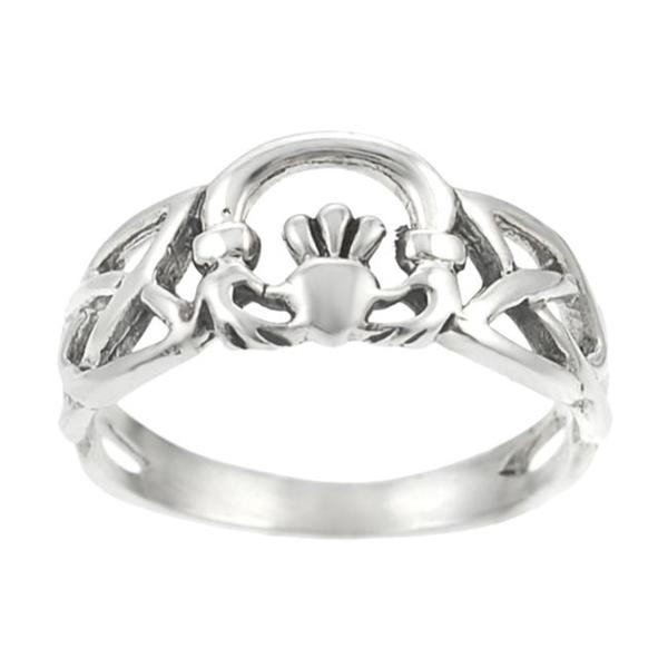 Journee Collection Sterling Silver Celtic Knot Claddagh Ring