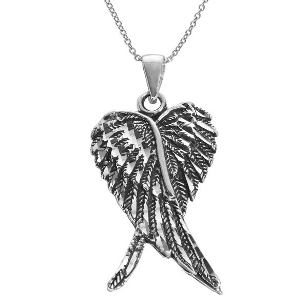 Sterling Silver Double Angel Wing Pendant - White