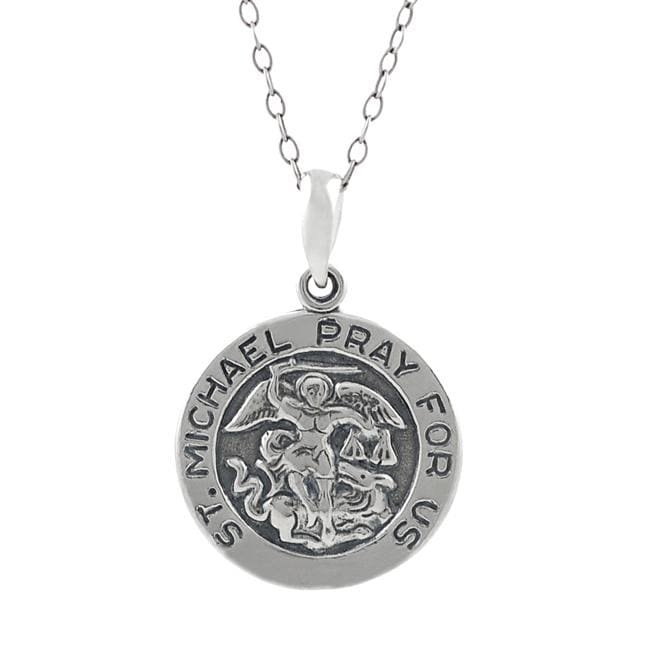 Journee Sterling Silver St. Michael 'Pray For Us' Necklace