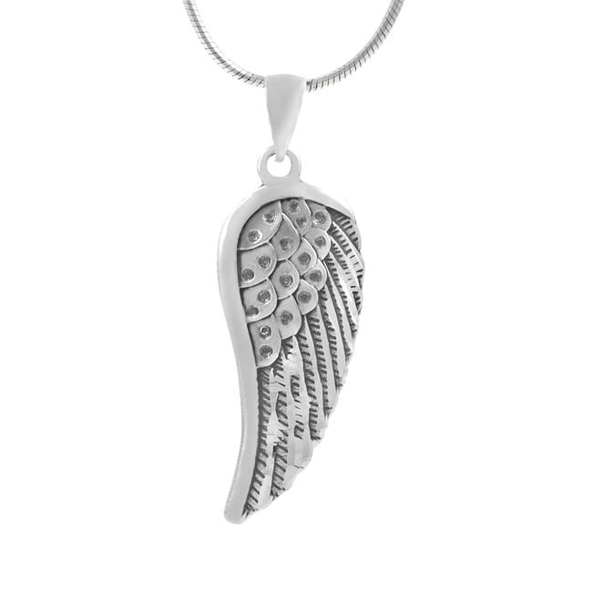 Journee Collection  Sterling Silver Oxidized Angel Wing Necklace
