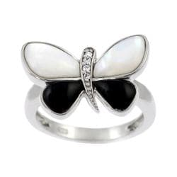 Journee Collection  Sterling Silver Black and White Butterfly Ring
