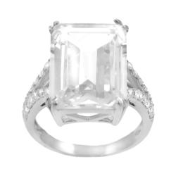 Journee Collection Sterling Silver Emerald-cut CZ Bridal and Engagement Ring