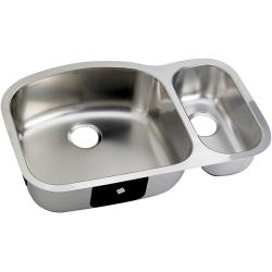 Double-basin D-shaped Steel Kitchen Sinks (Case of 12)