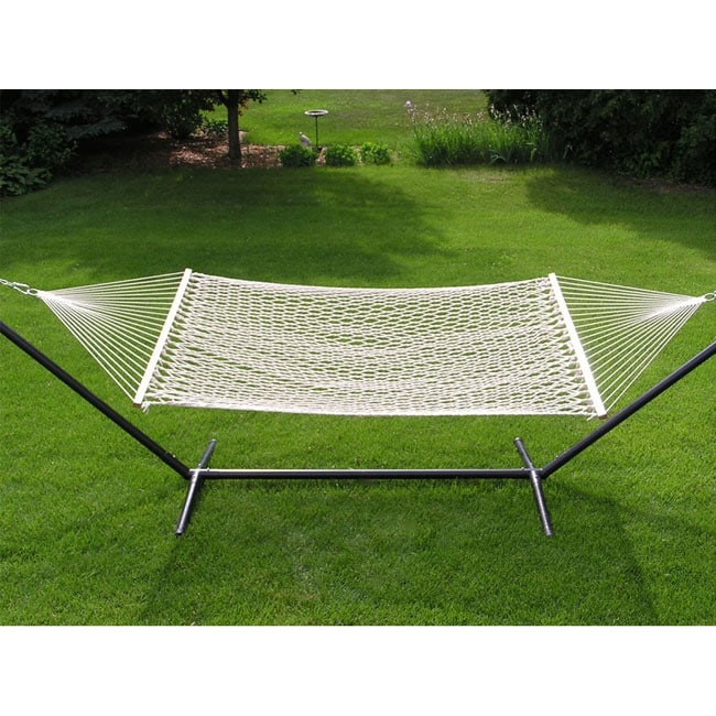 Extra-large 2-person White Rope Cotton Hammock - Thumbnail 0