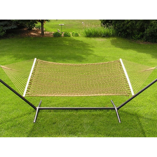 Extra-large 2-person Brown Rope Cotton Hammock