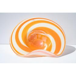 Hand-blown Glass Decorative Creamsicle Dish