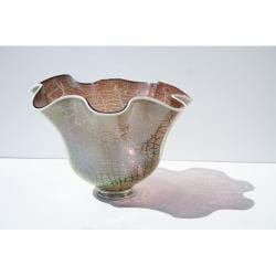 Hand-blown Cracked Color Glass Bowl