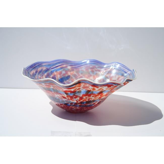 Hand-blown Blue/ Red Glass Dish