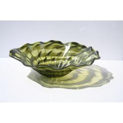 Hand-blown Green Ripple Glass Dish - Thumbnail 1