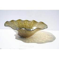 Hand-blown Cracked Green Decorative Dish