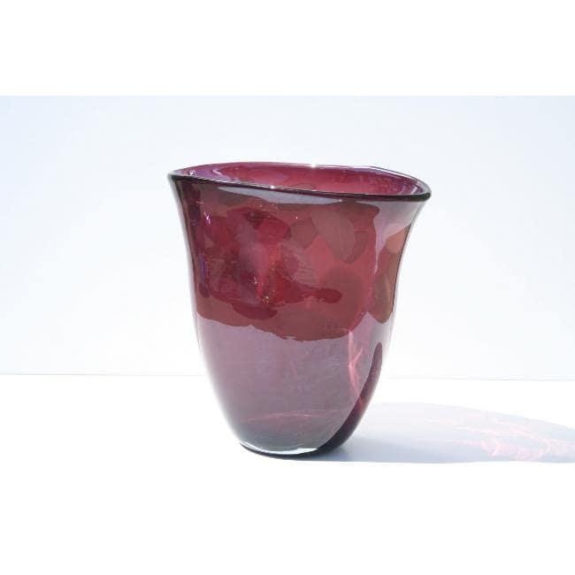 Hand-blown Purple Glass Decorative Vase