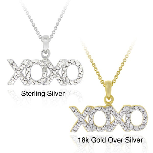 DB Designs Sterling Silver Diamond Accent Hugs/ Kisses Necklace