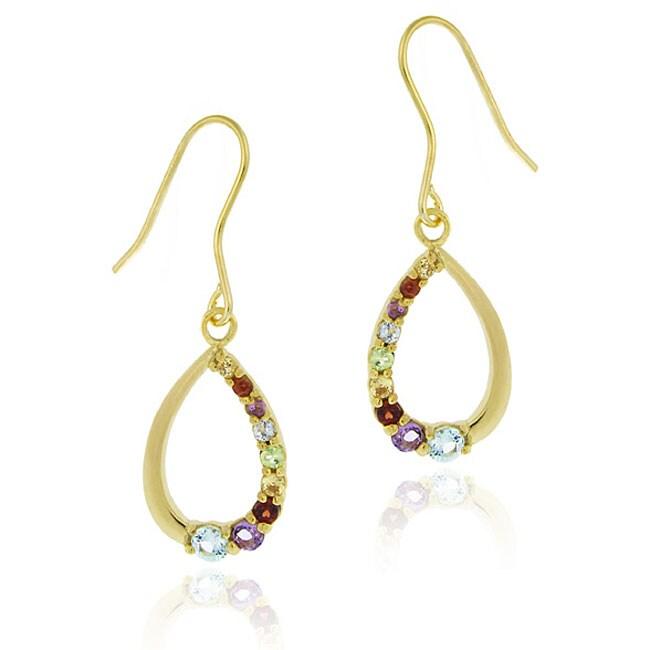 Glitzy Rocks 18k Gold/ Silver Multi-gemstone Teardrop Earrings