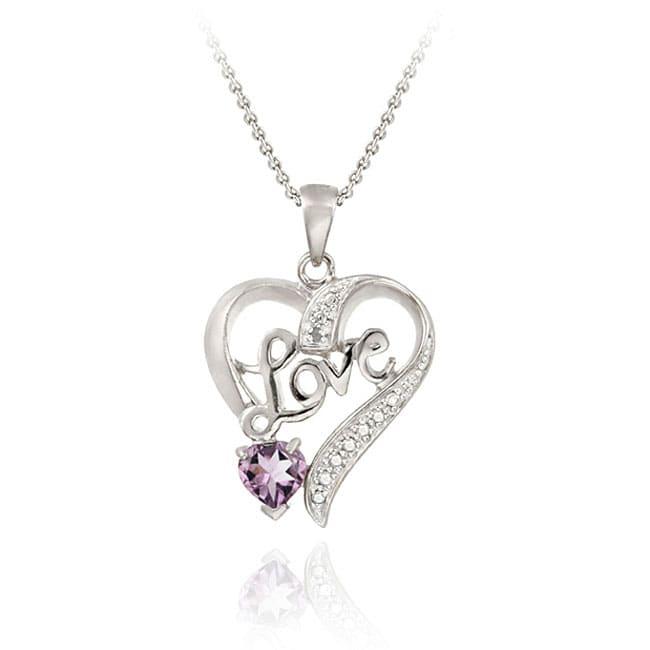 Glitzy Rocks Sterling Silver Amethyst/ Diamond Heart 'Love' Necklace