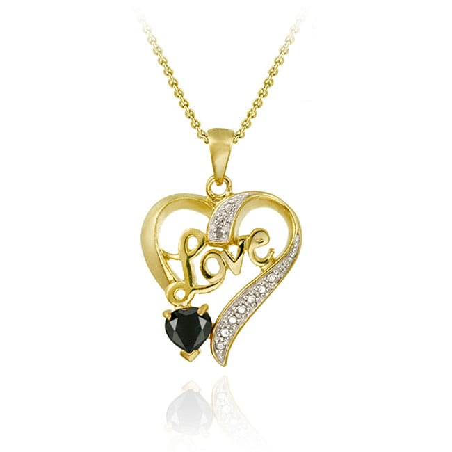 Glitzy Rocks 18k Gold/ Silver Sapphire/ Diamond Heart Love Necklace