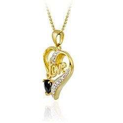 Glitzy Rocks 18k Gold/ Silver Sapphire/ Diamond Heart Love Necklace - Thumbnail 1