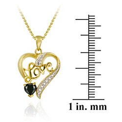 Glitzy Rocks 18k Gold/ Silver Sapphire/ Diamond Heart Love Necklace - Thumbnail 2