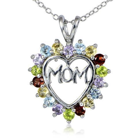 Glitzy Rocks Sterling Silver Multi-gemstone Heart-shaped Mom Necklace