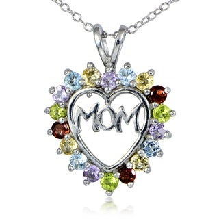 Glitzy Rocks Sterling Silver Multi-gemstone Heart-shaped Mom Necklace