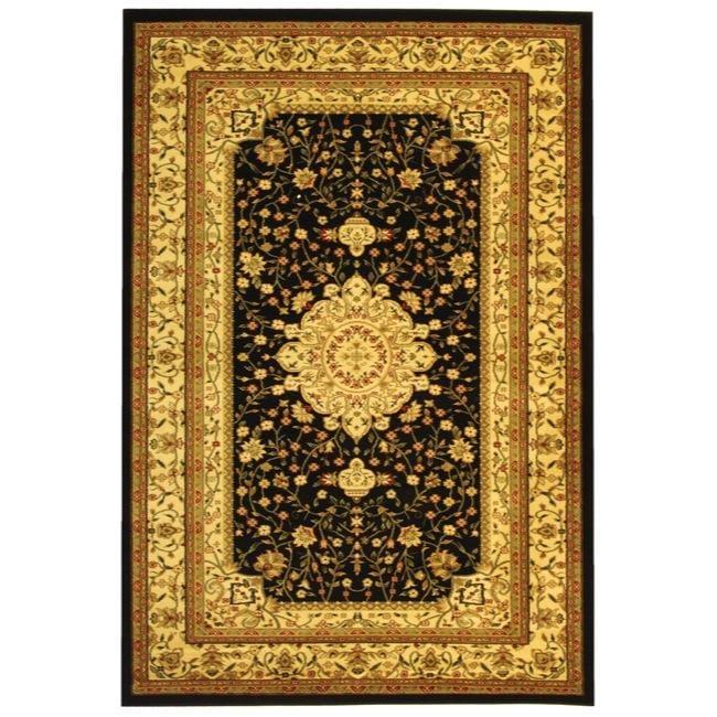Lyndhurst Collection Mashad Black/ Ivory Rug (9 X 12)