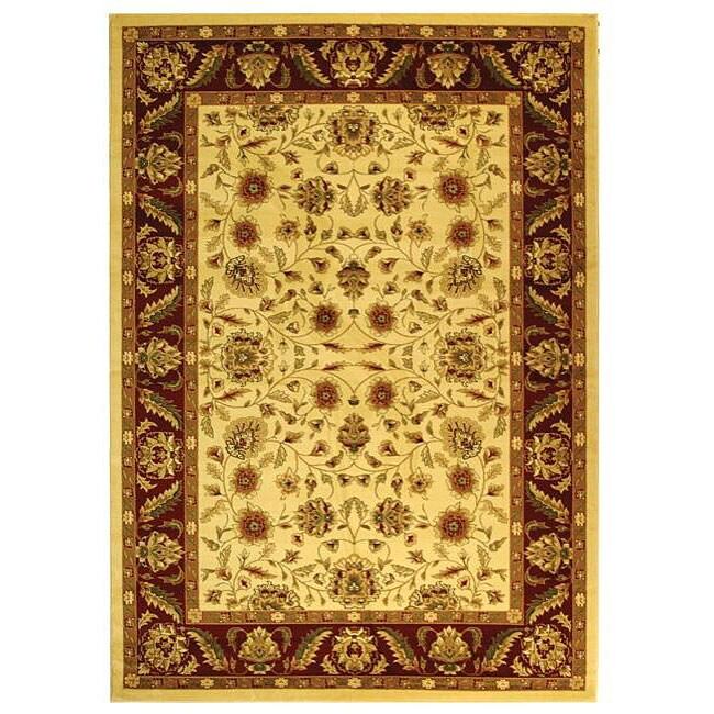 Lyndhurst Collection Tabriz Ivory/ Red Rug (9 X 12)