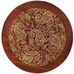 Safavieh Lyndhurst Traditional Paisley Red/ Multi Rug (5' 3 x 5' 3 Round)
