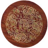 Safavieh Lyndhurst Traditional Paisley Red/ Multi Rug - 5' 3 x 5' 3 round