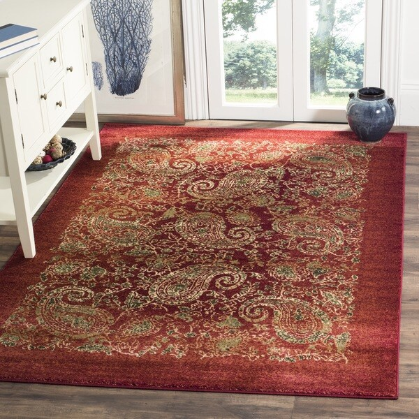 Safavieh Lyndhurst Traditional Paisley Red/ Multi Rug (8' x 11')