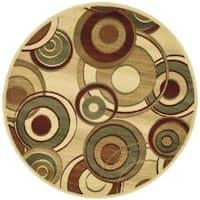 Safavieh Lyndhurst Contemporary Ivory/ Multi Rug - 5' 3 x 5' 3 round