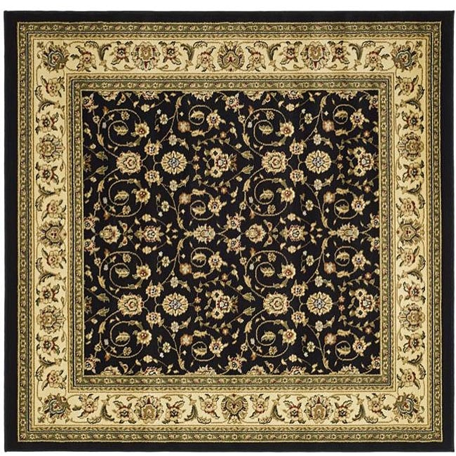 Lyndhurst Collection Traditional Black/ivory Area Rug (8 Square)