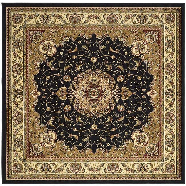 Lyndhurst Collection Traditional Black/ Ivory Rug (6 Square)