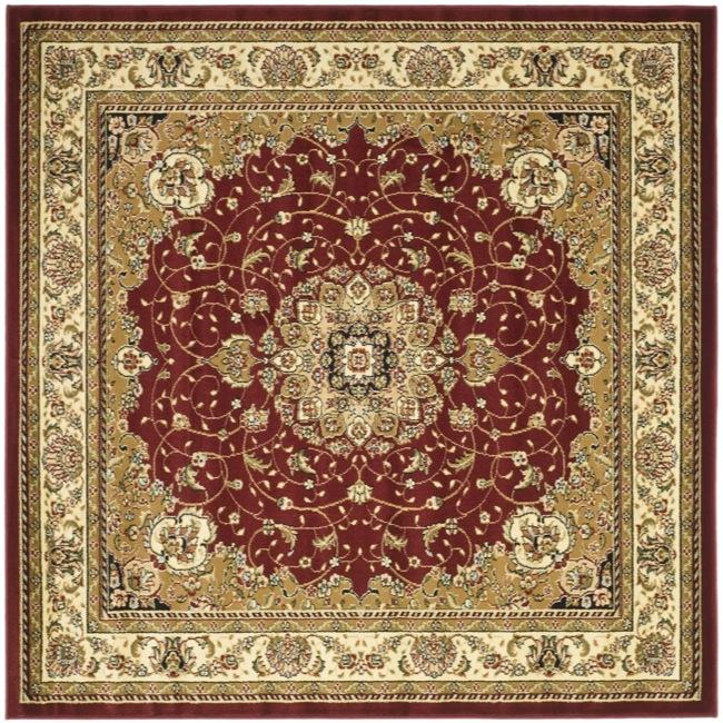 Lyndhurst Collection Traditional Red/ivory Rug (6 Square)