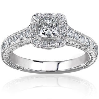 Link to Annello by Kobelli 14k Gold 3/4ct TDW Princess-cut Diamond Halo Engagement Ring Similar Items in Wedding Rings