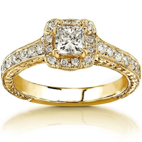 Annello by Kobelli 14k Gold 3/4ct TDW Princess-cut Diamond Halo Engagement Ring