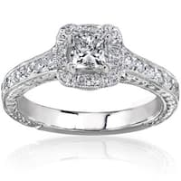 Annello by Kobelli 14k Gold 3/4ct TDW Princess-cut Diamond Halo Engagement Ring
