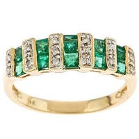 14k Yellow Gold Square-cut Emerald and Diamond Ring by Anika and August