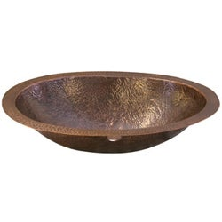 Hand-hammered Antique Oval Copper Lavatory Sink - Thumbnail 1