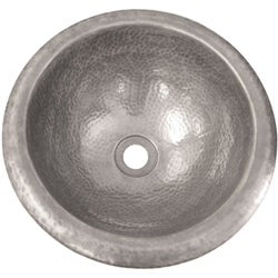 Hand-hammered Round Pewter Finish Copper Lavatory Sink - Thumbnail 1
