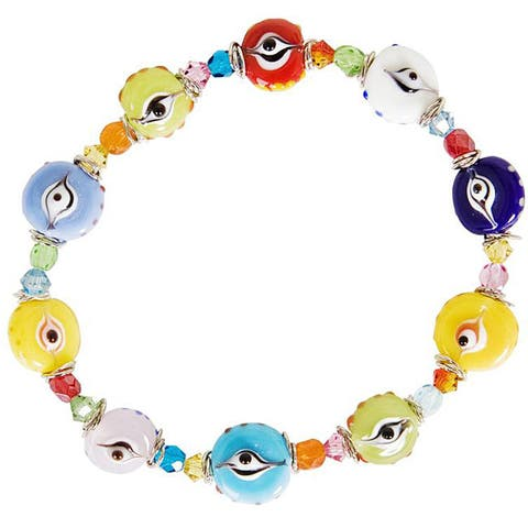 Nexte Brass and Glass Bead 'The Guardian Eye' Bracelet