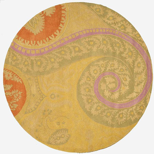 Hand-tufted Wool Yellow Transitional Floral Tirana Rug (6' Round)