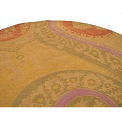Hand-tufted Wool Yellow Transitional Floral Tirana Rug (6' Round) - Thumbnail 2