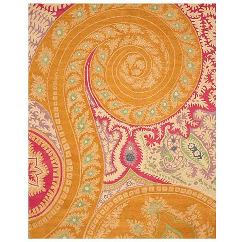 Hand-tufted Wool Orange Transitional Floral Paisley Rug - 4' x 6'