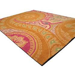 Hand-tufted Wool Orange Transitional Floral Paisley Rug (4' x 6') - Thumbnail 1