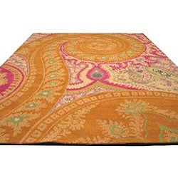 Hand-tufted Wool Orange Transitional Floral Paisley Rug (4' x 6') - Thumbnail 2